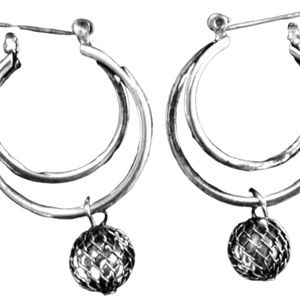 Avon Silver Double Hoop Earrings with Silver Wrap